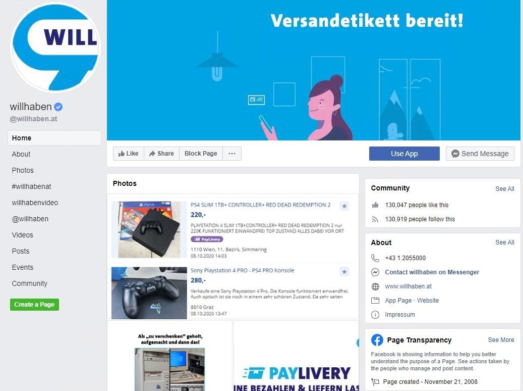 Kontaktieren Sie Willhaben über Facebook